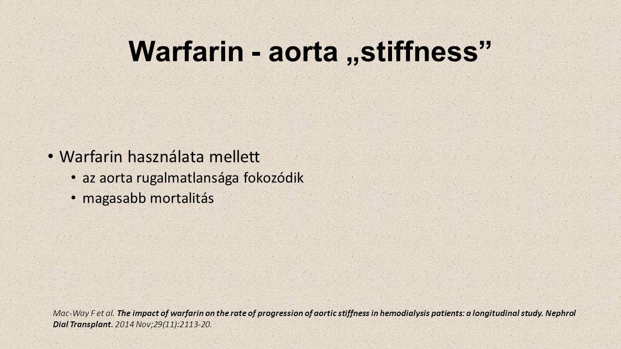 """Warfarin - aorta """"stiffness Warfarin használata mellett az aorta rugalmatlansága fokozódik magasabb mortalitás Mac-Way F et al."""