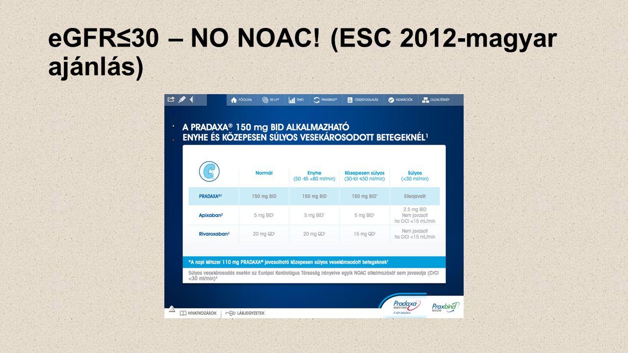 eGFR≤30 – NO NOAC! (ESC 2012-magyar ajánlás)
