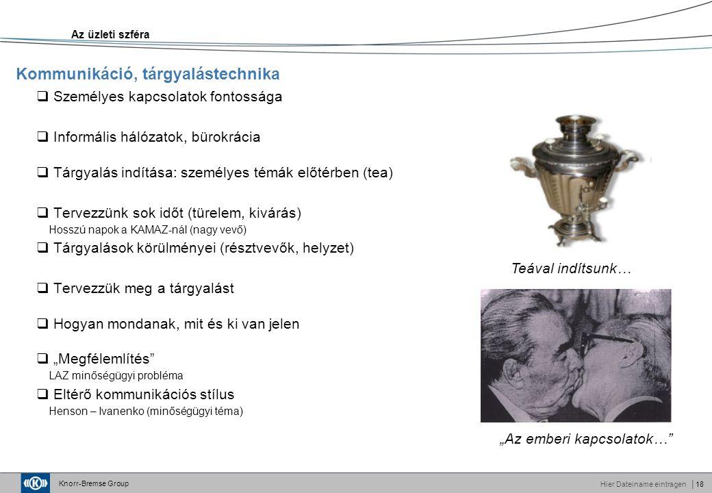 """Knorr-Bremse Group Hier Dateiname eintragen│18  Személyes kapcsolatok fontossága  Informális hálózatok, bürokrácia  Tárgyalás indítása: személyes témák előtérben (tea)  Tervezzünk sok időt (türelem, kivárás) Hosszú napok a KAMAZ-nál (nagy vevő)  Tárgyalások körülményei (résztvevők, helyzet)  Tervezzük meg a tárgyalást  Hogyan mondanak, mit és ki van jelen  """"Megfélemlítés LAZ minőségügyi probléma  Eltérő kommunikációs stílus Henson – Ivanenko (minőségügyi téma) Kommunikáció, tárgyalástechnika Az üzleti szféra """"Az emberi kapcsolatok… Teával indítsunk…"""