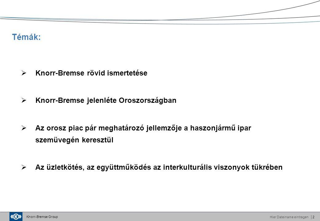 Knorr-Bremse Group Hier Dateiname eintragen│2 Témák:  Knorr-Bremse rövid ismertetése  Knorr-Bremse jelenléte Oroszországban  Az orosz piac pár meghatározó jellemzője a haszonjármű ipar szemüvegén keresztül  Az üzletkötés, az együttműködés az interkulturális viszonyok tükrében
