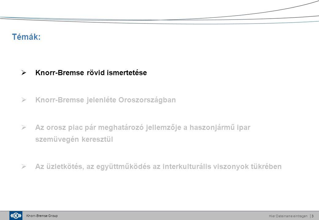 Knorr-Bremse Group Hier Dateiname eintragen│3 Témák:  Knorr-Bremse rövid ismertetése  Knorr-Bremse jelenléte Oroszországban  Az orosz piac pár meghatározó jellemzője a haszonjármű ipar szemüvegén keresztül  Az üzletkötés, az együttműködés az interkulturális viszonyok tükrében