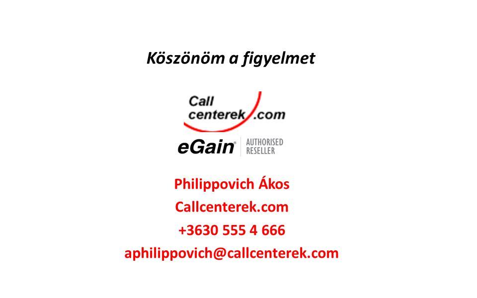 Philippovich Ákos Callcenterek.com +3630 555 4 666 aphilippovich@callcenterek.com Köszönöm a figyelmet