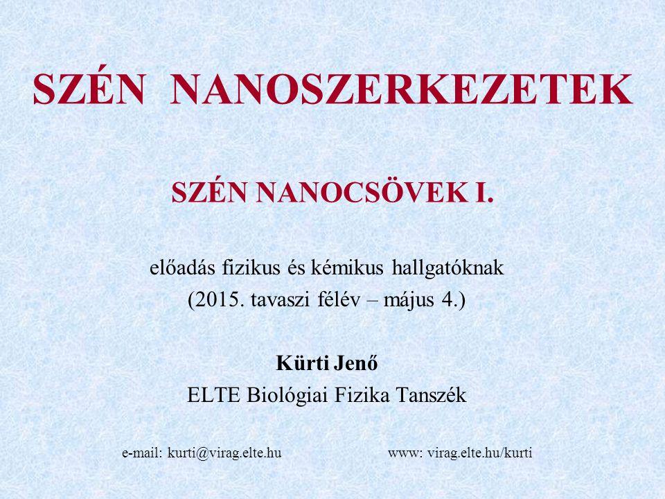 SZÉN NANOSZERKEZETEK SZÉN NANOCSÖVEK I.előadás fizikus és kémikus hallgatóknak (2015.