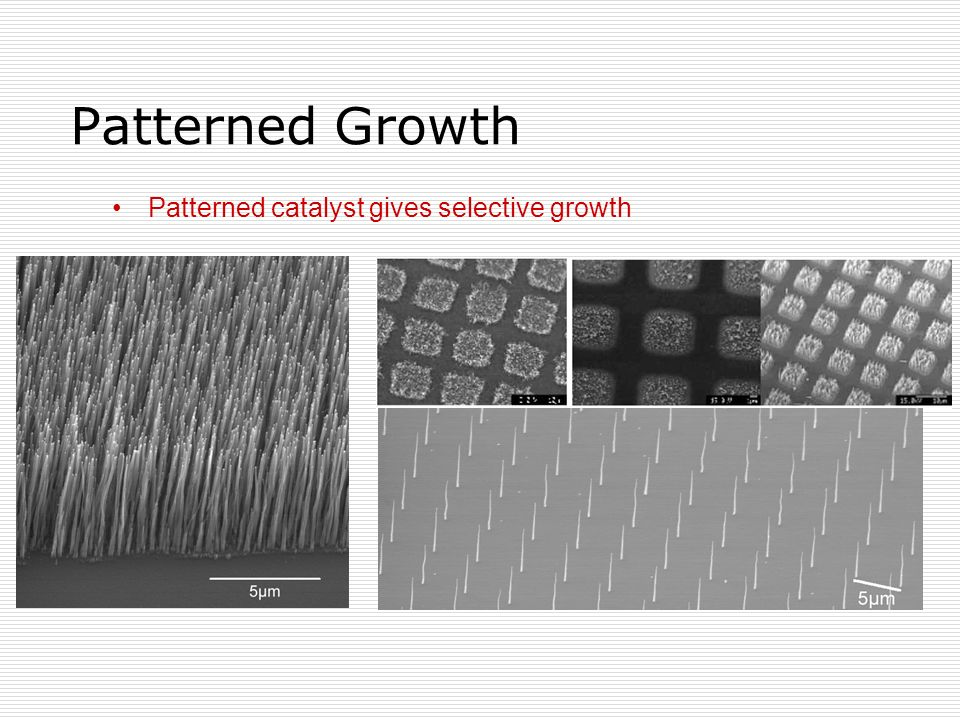 Patterned catalyst gives selective growth Patterned Growth