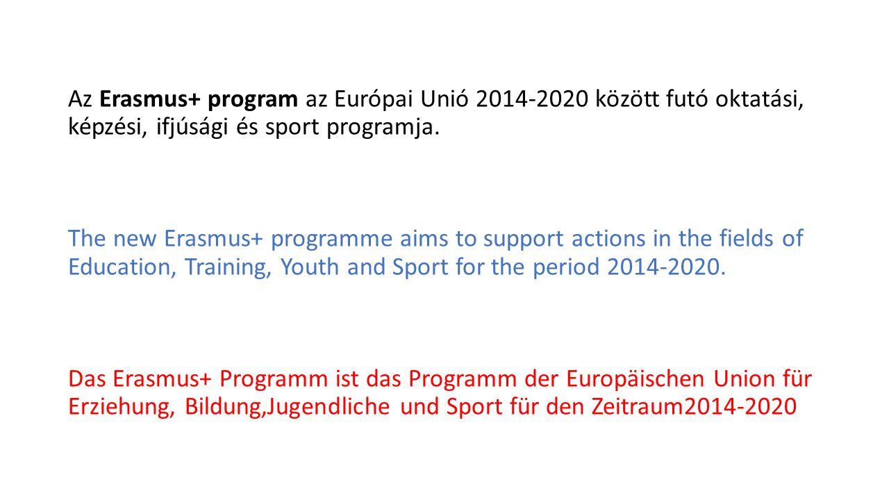 Az Erasmus + hét korábbi EU-s támogatási programot fog össze egy komplex programban Erasmus+ replaces seven programmes bringing together Das Ersamus + umfasst sieben frühere Programme der EU in einem komplexen Programm