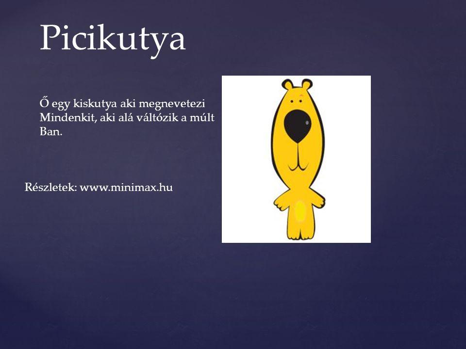 Picikutya Ő egy kiskutya aki megnevetezi Mindenkit, aki alá váltózik a múlt Ban. Részletek: www.minimax.hu