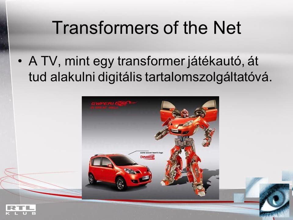 Transformers of the Net A TV, mint egy transformer játékautó, át tud alakulni digitális tartalomszolgáltatóvá.