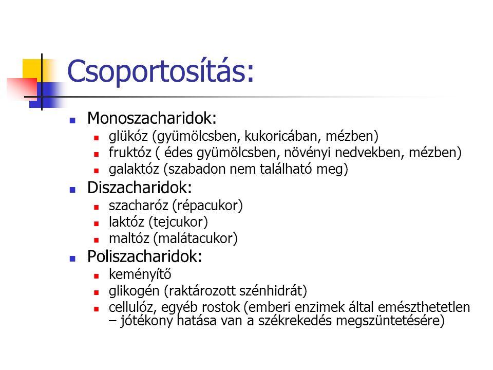 Csoportosítás: Monoszacharidok: glükóz (gyümölcsben, kukoricában, mézben) fruktóz ( édes gyümölcsben, növényi nedvekben, mézben) galaktóz (szabadon nem található meg) Diszacharidok: szacharóz (répacukor) laktóz (tejcukor) maltóz (malátacukor) Poliszacharidok: keményítő glikogén (raktározott szénhidrát) cellulóz, egyéb rostok (emberi enzimek által emészthetetlen – jótékony hatása van a székrekedés megszüntetésére)