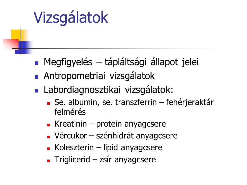 Vizsgálatok Megfigyelés – tápláltsági állapot jelei Antropometriai vizsgálatok Labordiagnosztikai vizsgálatok: Se.
