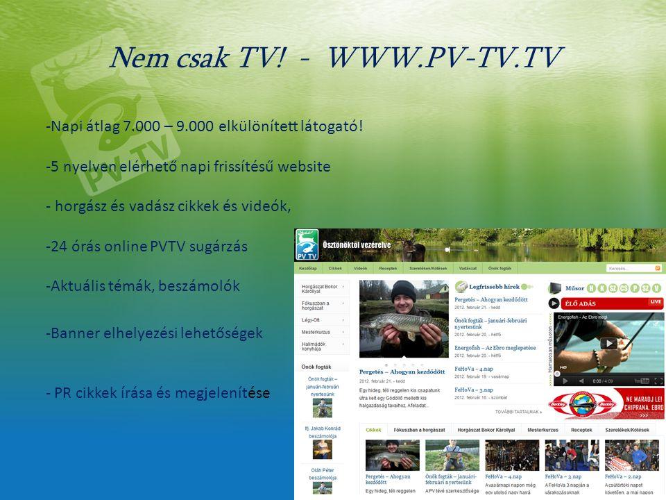 Nem csak TV. - WWW.PV-TV.TV -Napi átlag 7.000 – 9.000 elkülönített látogató.