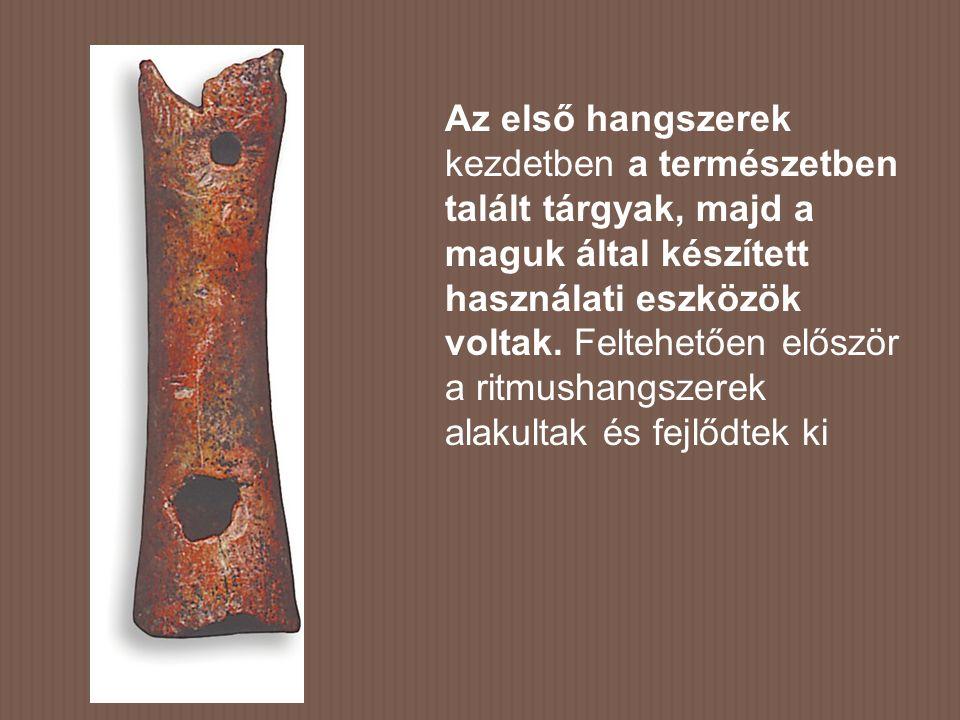 Az első hangszerek kezdetben a természetben talált tárgyak, majd a maguk által készített használati eszközök voltak.