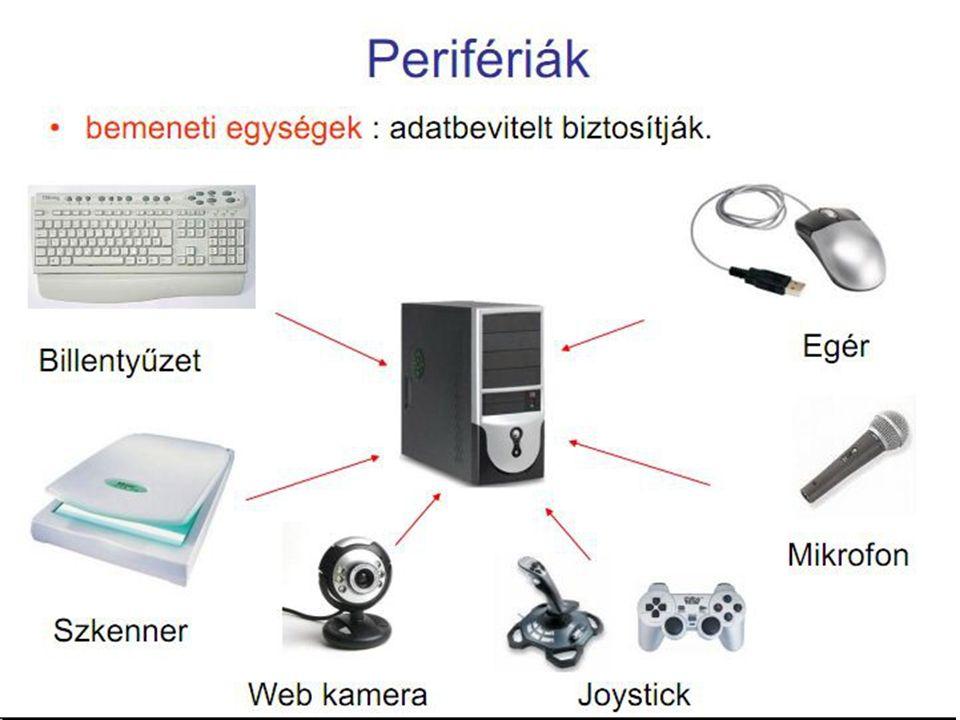  Szkenner (más néven lapolvasó)  Szövegek, képek számítógépbe való bevitelére, azaz digitalizálására szolgál  Ha szöveget digitalizálunk, akkor abból még csak kép lesz, de ezt OCR (Optikai Karakterfelismerő) programmal át lehet alakítani szöveggé  Webkamera  Internetkapcsolattal rendelkező számítógépekhez kapcsolt kamera, melynek képét más internetezők is nézhetik