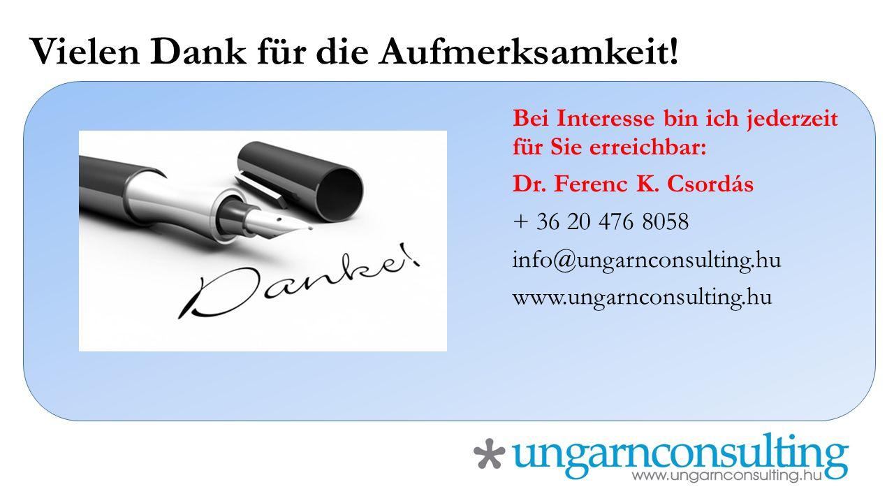 Vielen Dank für die Aufmerksamkeit! Bei Interesse bin ich jederzeit für Sie erreichbar: Dr. Ferenc K. Csordás + 36 20 476 8058 info@ungarnconsulting.h