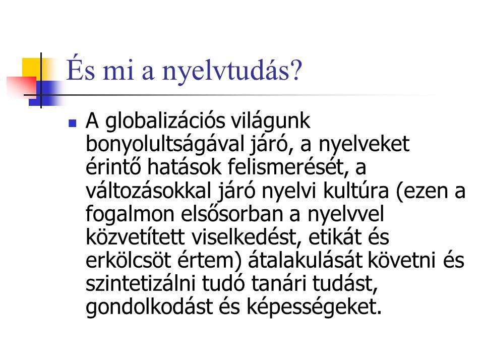 És mi a nyelvtudás? A globalizációs világunk bonyolultságával járó, a nyelveket érintő hatások felismerését, a változásokkal járó nyelvi kultúra (ezen