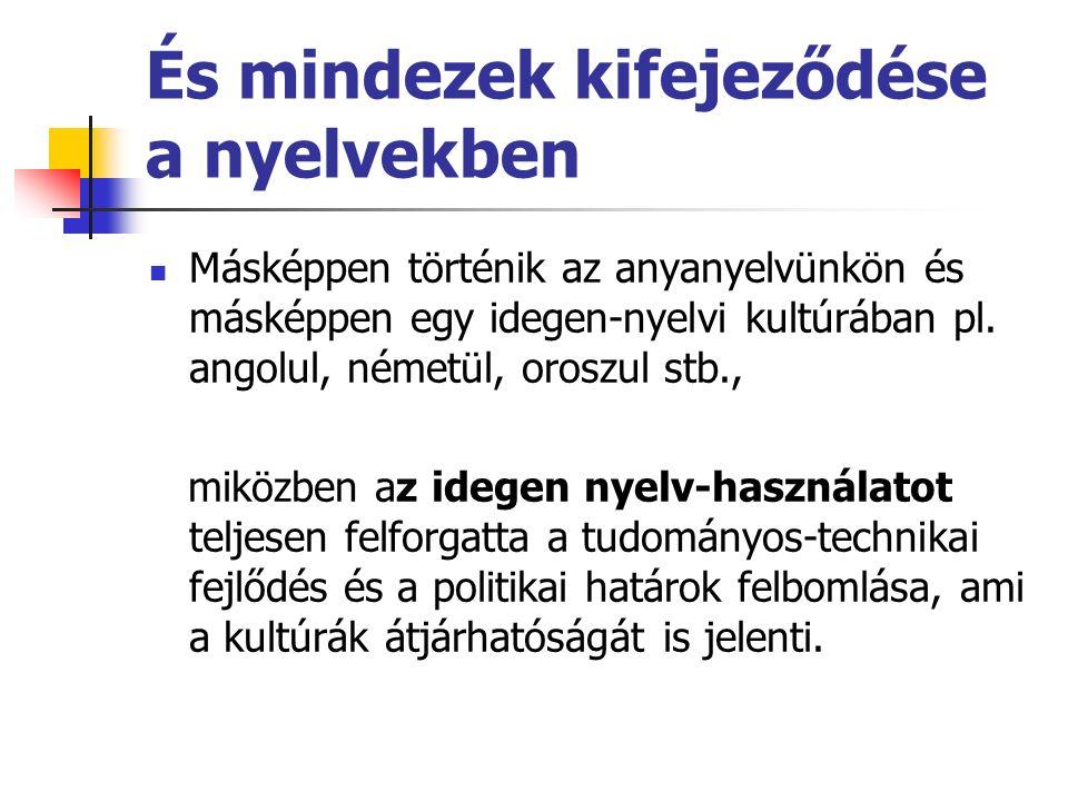 És mindezek kifejeződése a nyelvekben Másképpen történik az anyanyelvünkön és másképpen egy idegen-nyelvi kultúrában pl. angolul, németül, oroszul stb