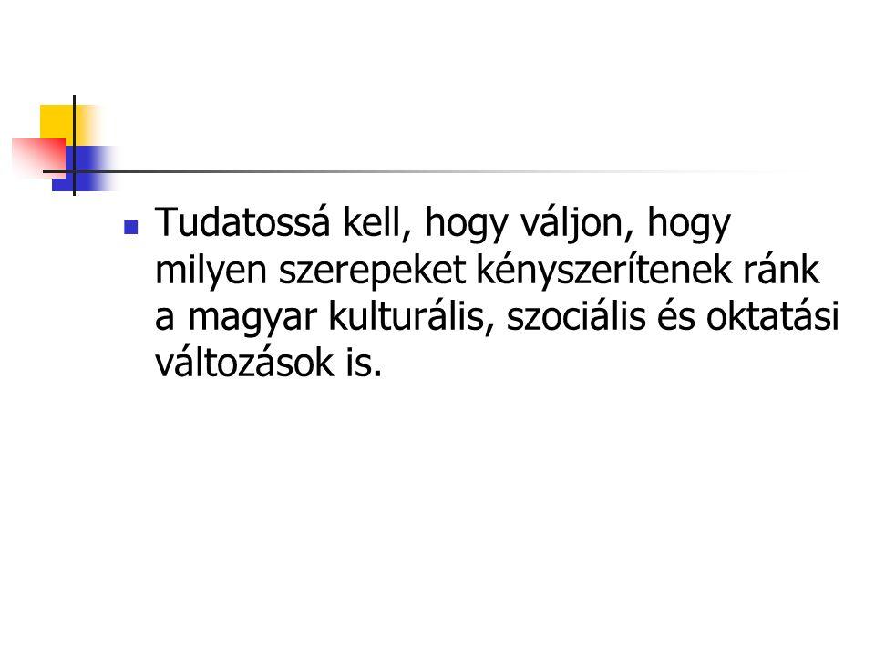 Tudatossá kell, hogy váljon, hogy milyen szerepeket kényszerítenek ránk a magyar kulturális, szociális és oktatási változások is.