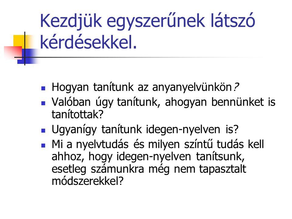 Kezdjük egyszerűnek látszó kérdésekkel. Hogyan tanítunk az anyanyelvünkön.