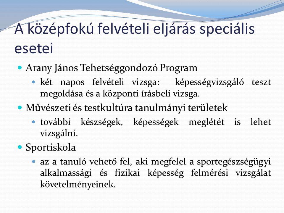 A középfokú felvételi eljárás speciális esetei Arany János Tehetséggondozó Program két napos felvételi vizsga: képességvizsgáló teszt megoldása és a központi írásbeli vizsga.