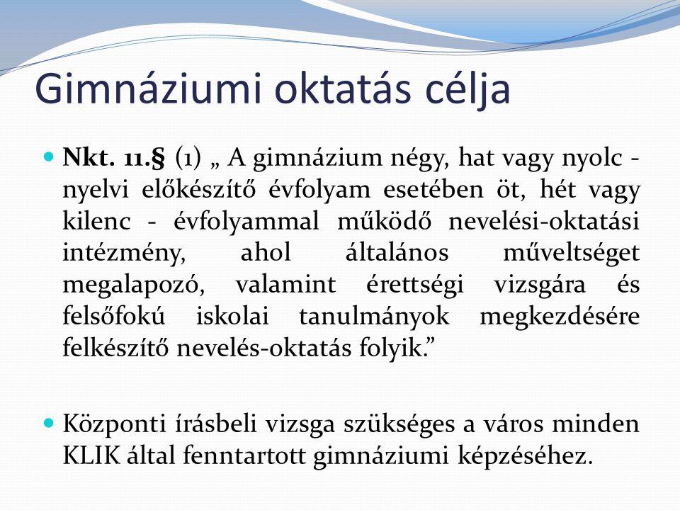 Gimnáziumi oktatás célja Nkt.