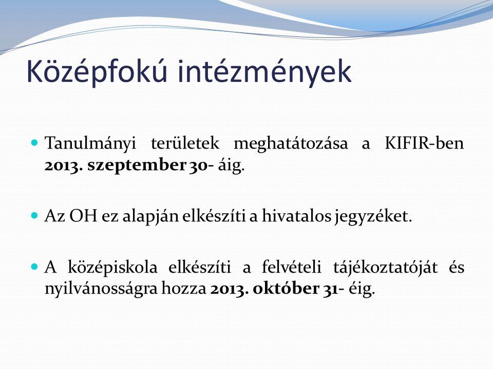 Középfokú intézmények Tanulmányi területek meghatátozása a KIFIR-ben 2013.