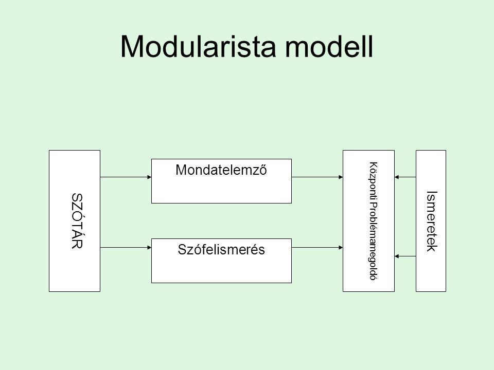 A megértés folyamatának komponensei Moduláris felfogás Rögzített összetevők Alulról-felfelé Forma-jelentés Ostoba feldolgozás Algoritmikus összetevők