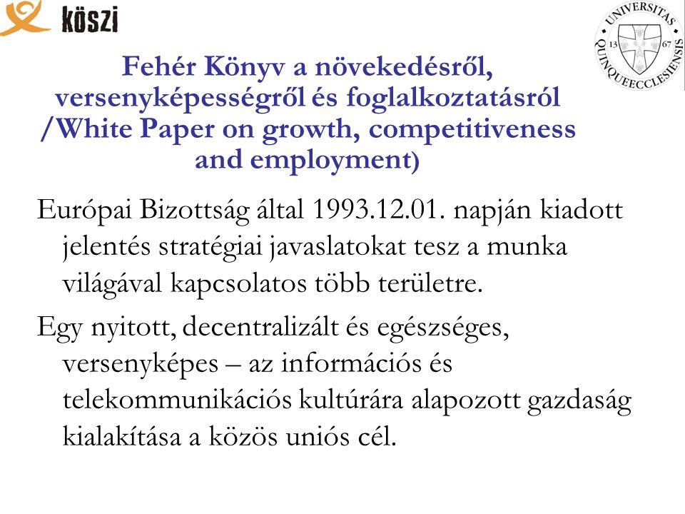 Fehér Könyv a növekedésről, versenyképességről és foglalkoztatásról /White Paper on growth, competitiveness and employment ) Európai Bizottság által 1993.12.01.