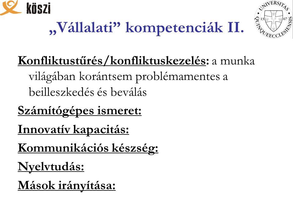 """""""Vállalati kompetenciák II."""