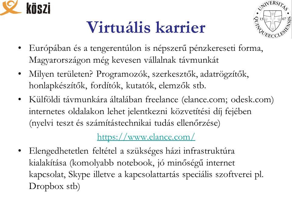 Virtuális karrier Európában és a tengerentúlon is népszerű pénzkereseti forma, Magyarországon még kevesen vállalnak távmunkát Milyen területen.