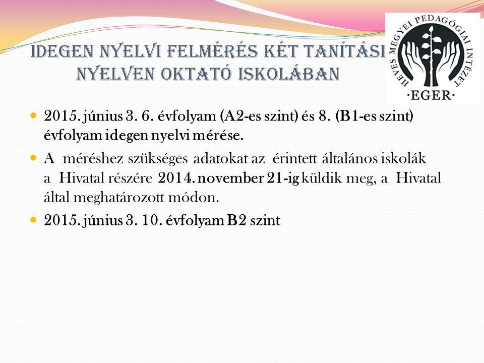 Idegen nyelvi felmérés két tanítási nyelven oktató iskolában 2015.