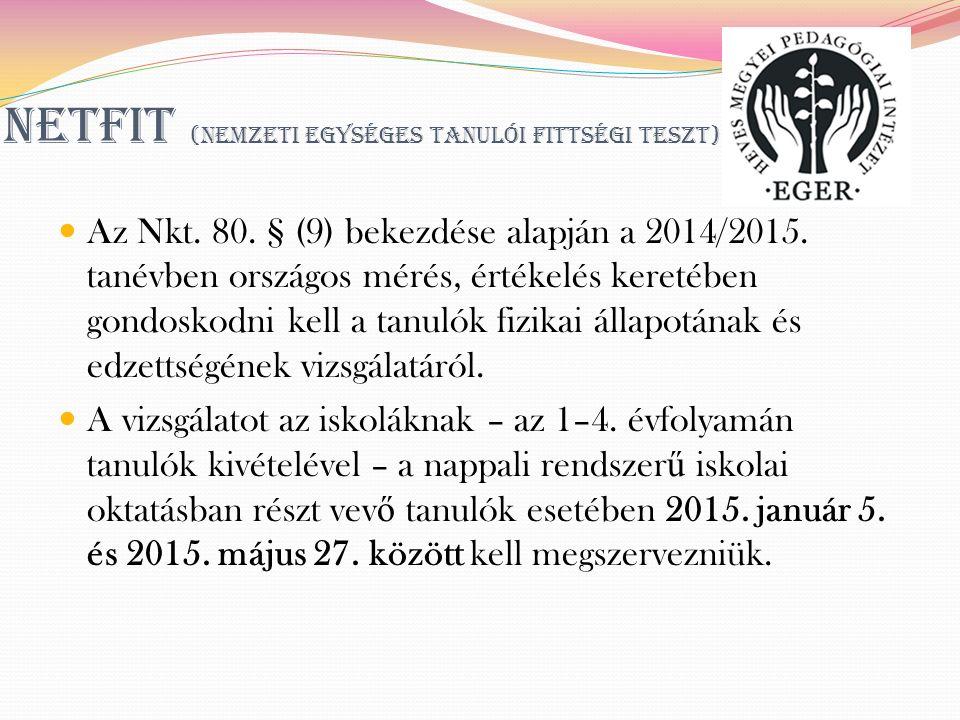 NETFIT (Nemzeti Egységes Tanulói Fittségi Teszt) Az Nkt.