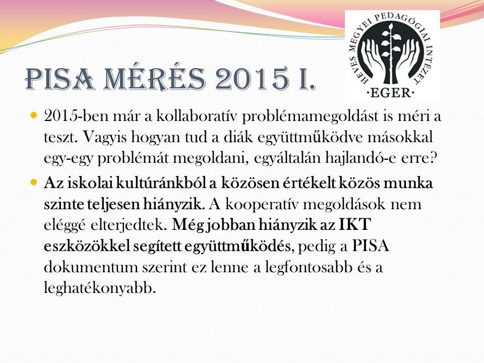 PISA mérés 2015 I. 2015-ben már a kollaboratív problémamegoldást is méri a teszt.