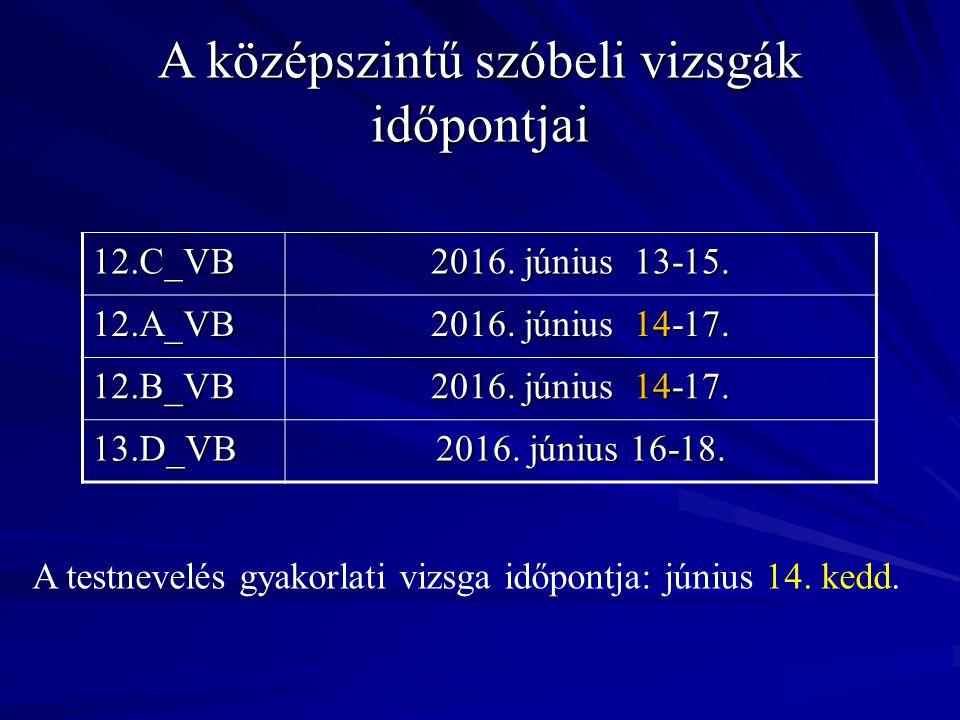 A középszintű szóbeli vizsgák időpontjai 12.C_VB 2016.