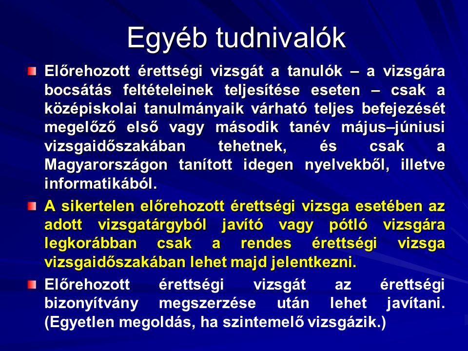 Egyéb tudnivalók Előrehozott érettségi vizsgát a tanulók – a vizsgára bocsátás feltételeinek teljesítése eseten – csak a középiskolai tanulmányaik várható teljes befejezését megelőző első vagy második tanév május–júniusi vizsgaidőszakában tehetnek, és csak a Magyarországon tanított idegen nyelvekből, illetve informatikából.