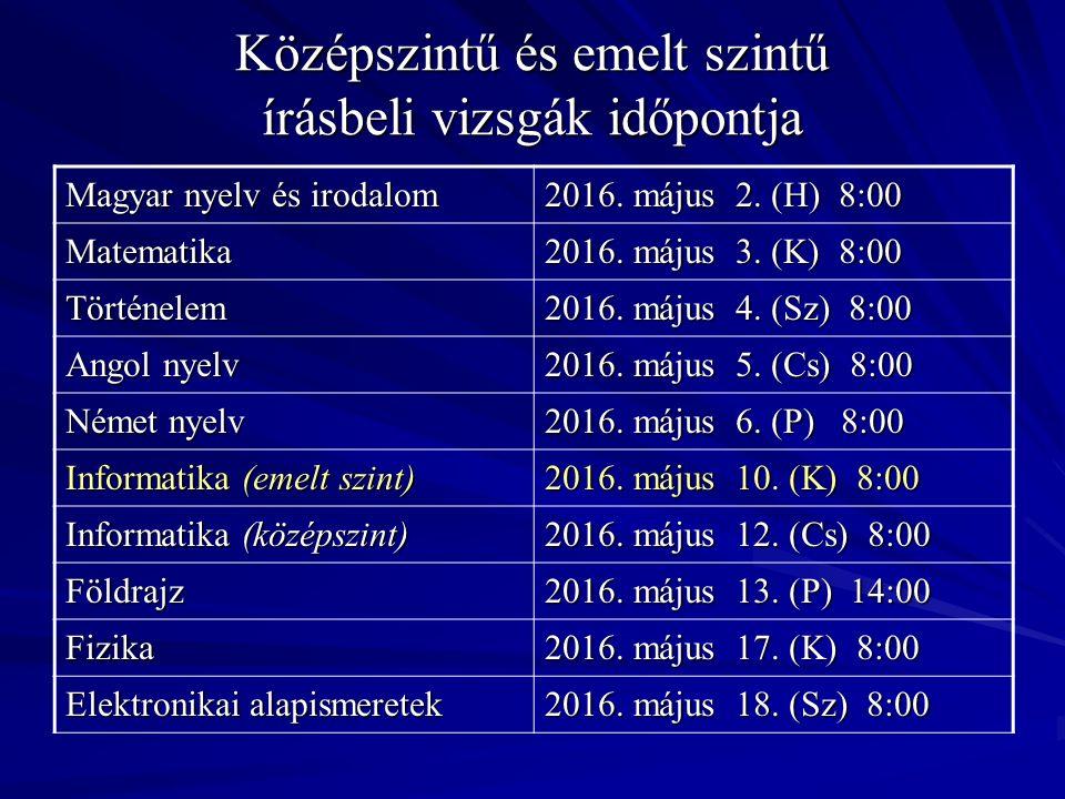 Egyéb tudnivalók Az emelt szintű nyelvi érettségi 60% felett állami nyelvvizsgával egyenértékű.
