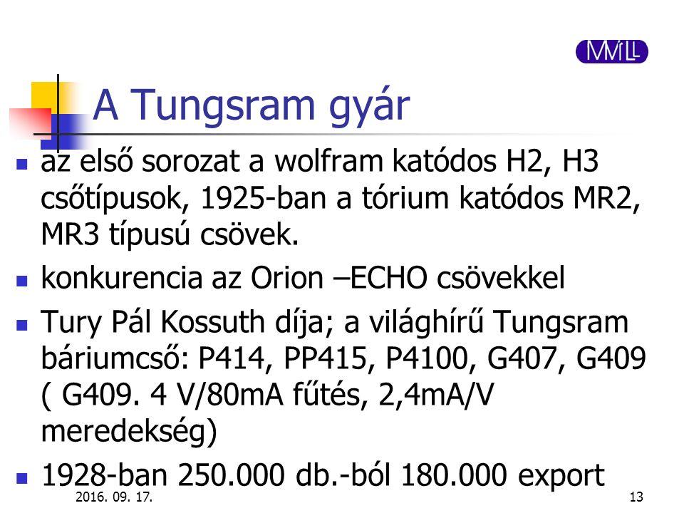 A Tungsram gyár az első sorozat a wolfram katódos H2, H3 csőtípusok, 1925-ban a tórium katódos MR2, MR3 típusú csövek. konkurencia az Orion –ECHO csöv