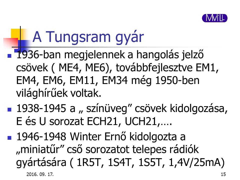 A Tungsram gyár 1936-ban megjelennek a hangolás jelző csövek ( ME4, ME6), továbbfejlesztve EM1, EM4, EM6, EM11, EM34 még 1950-ben világhírűek voltak.