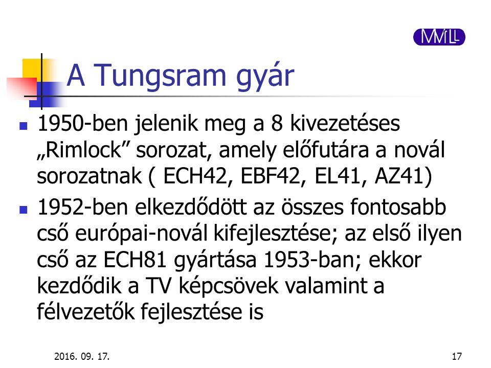 """A Tungsram gyár 1950-ben jelenik meg a 8 kivezetéses """"Rimlock"""" sorozat, amely előfutára a novál sorozatnak ( ECH42, EBF42, EL41, AZ41) 1952-ben elkezd"""