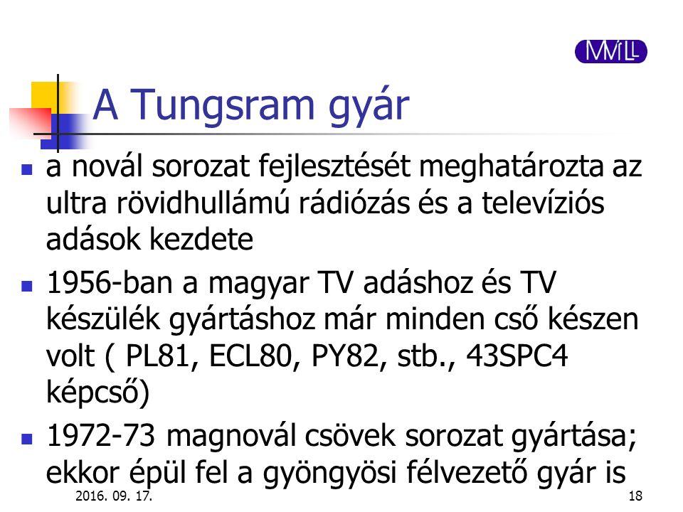 A Tungsram gyár a novál sorozat fejlesztését meghatározta az ultra rövidhullámú rádiózás és a televíziós adások kezdete 1956-ban a magyar TV adáshoz é