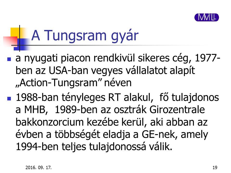 """A Tungsram gyár a nyugati piacon rendkivül sikeres cég, 1977- ben az USA-ban vegyes vállalatot alapít """"Action-Tungsram"""" néven 1988-ban tényleges RT al"""