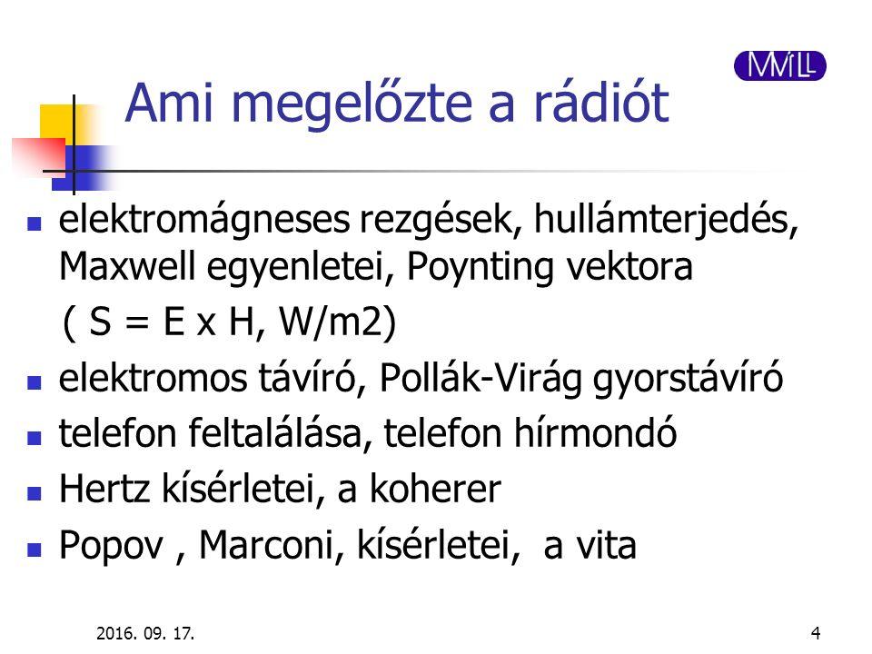 2016. 09. 17.4 Ami megelőzte a rádiót elektromágneses rezgések, hullámterjedés, Maxwell egyenletei, Poynting vektora ( S = E x H, W/m2) elektromos táv