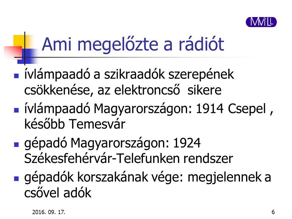 2016. 09. 17.6 Ami megelőzte a rádiót ívlámpaadó a szikraadók szerepének csökkenése, az elektroncső sikere ívlámpaadó Magyarországon: 1914 Csepel, kés
