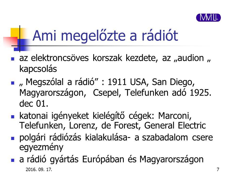"""2016. 09. 17.7 Ami megelőzte a rádiót az elektroncsöves korszak kezdete, az """"audion """" kapcsolás """" Megszólal a rádió"""" : 1911 USA, San Diego, Magyarorsz"""