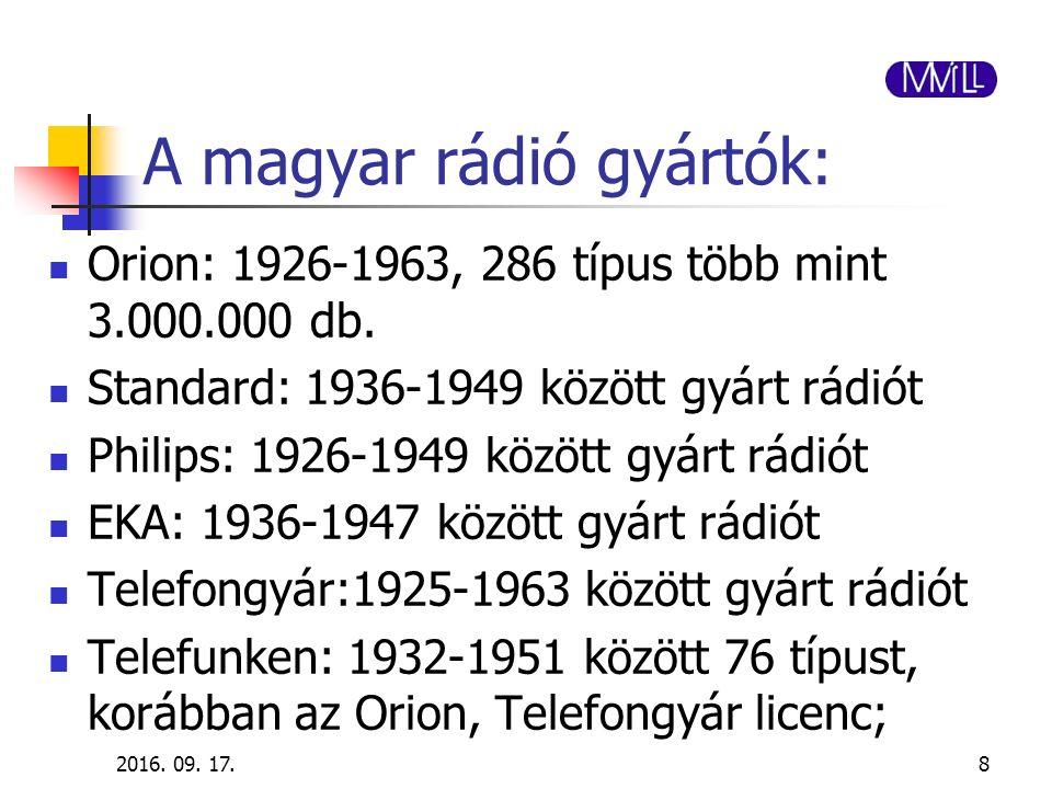 A magyar rádió gyártók: Orion: 1926-1963, 286 típus több mint 3.000.000 db. Standard: 1936-1949 között gyárt rádiót Philips: 1926-1949 között gyárt rá
