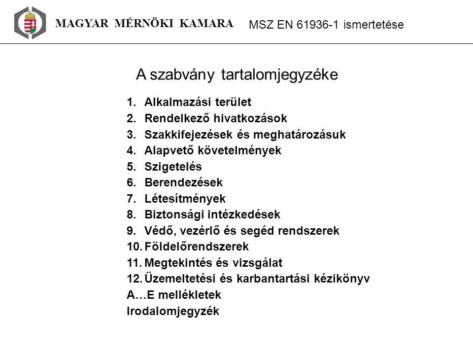 1.táblázat: – Minimális légközök – I.