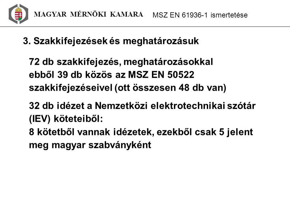MAGYAR MÉRNÖKI KAMARA MSZ EN 61936 ‑ 1 ismertetése 72 db szakkifejezés, meghatározásokkal ebből 39 db közös az MSZ EN 50522 szakkifejezéseivel (ott összesen 48 db van) 32 db idézet a Nemzetközi elektrotechnikai szótár (IEV) köteteiből: 8 kötetből vannak idézetek, ezekből csak 5 jelent meg magyar szabványként 3.