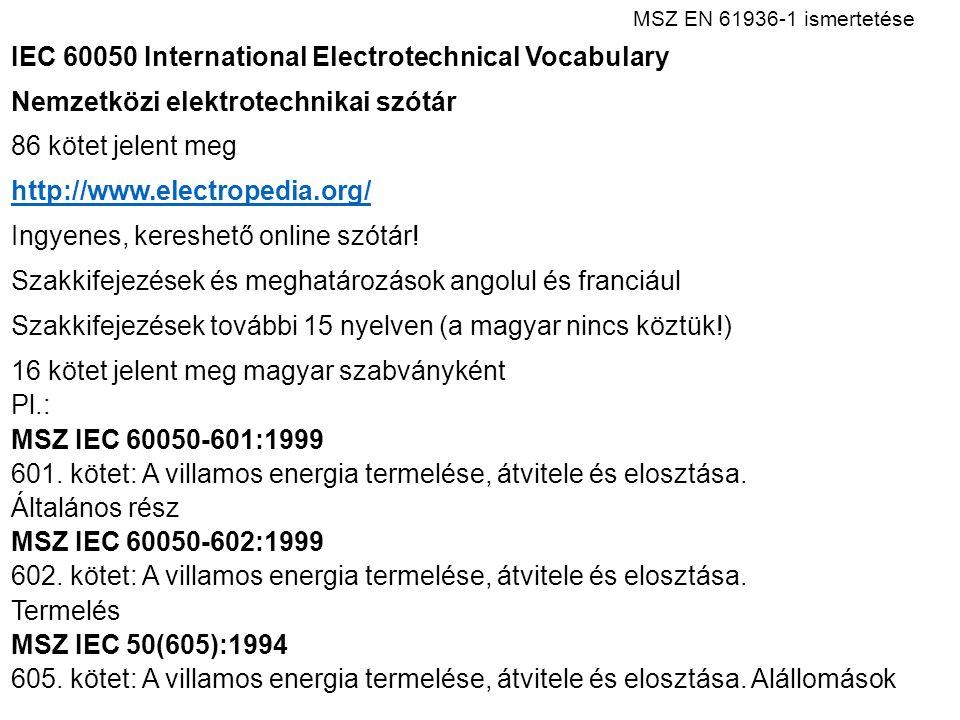 MSZ EN 61936 ‑ 1 ismertetése IEC 60050 International Electrotechnical Vocabulary Nemzetközi elektrotechnikai szótár 86 kötet jelent meg http://www.electropedia.org/ Ingyenes, kereshető online szótár.