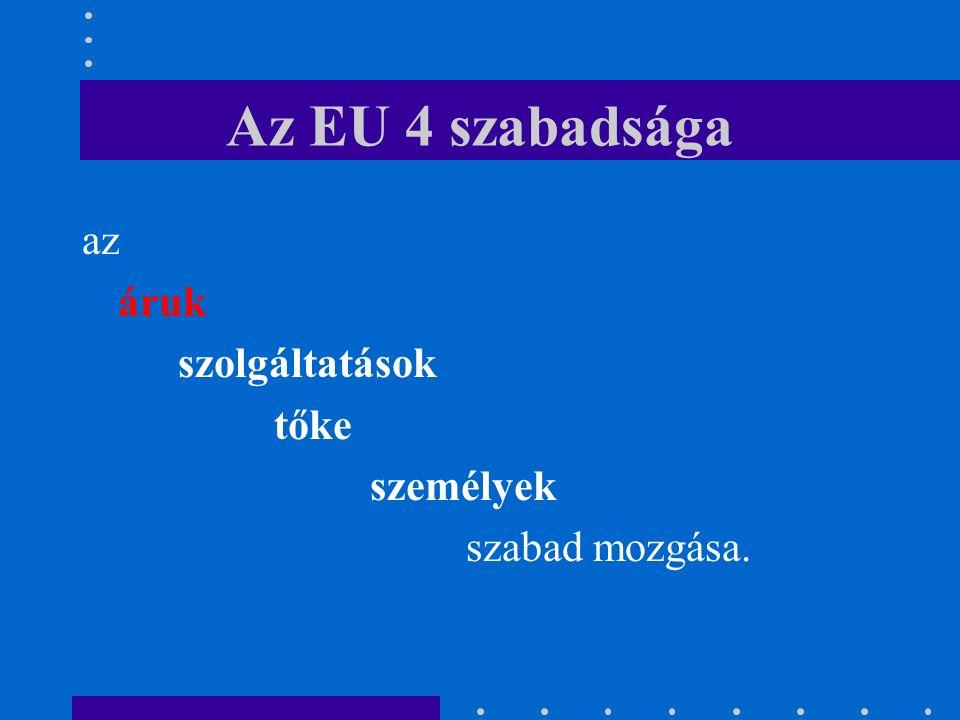 Az EU 4 szabadsága az áruk szolgáltatások tőke személyek szabad mozgása.