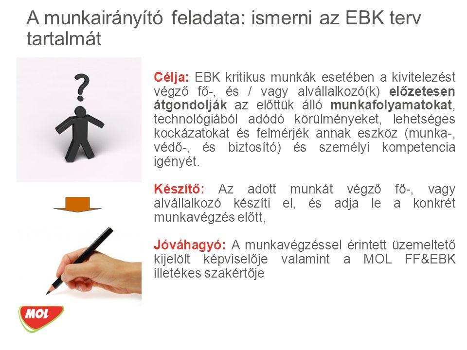 Célja: EBK kritikus munkák esetében a kivitelezést végző fő-, és / vagy alvállalkozó(k) előzetesen átgondolják az előttük álló munkafolyamatokat, technológiából adódó körülményeket, lehetséges kockázatokat és felmérjék annak eszköz (munka-, védő-, és biztosító) és személyi kompetencia igényét.