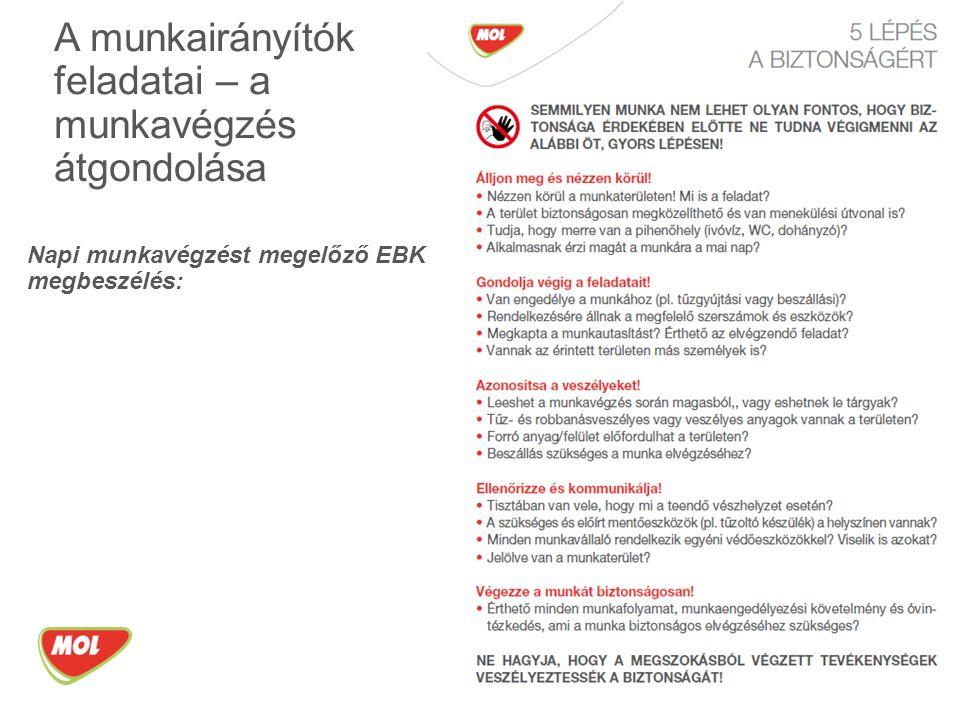 Napi munkavégzést megelőző EBK megbeszélés: A munkairányítók feladatai – a munkavégzés átgondolása