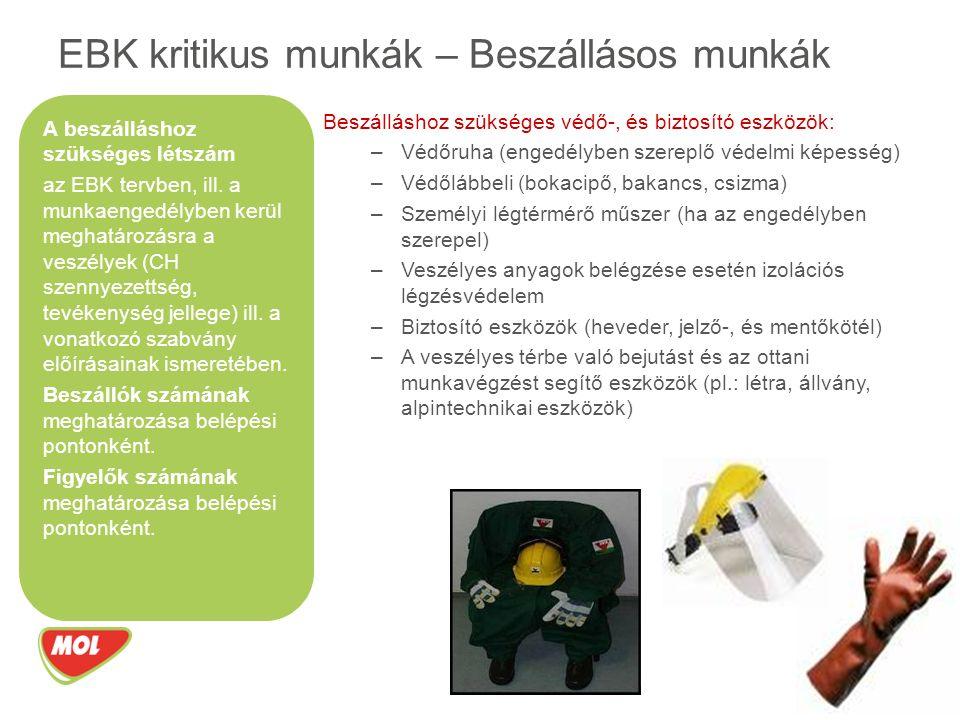 Beszálláshoz szükséges védő-, és biztosító eszközök: –Védőruha (engedélyben szereplő védelmi képesség) –Védőlábbeli (bokacipő, bakancs, csizma) –Személyi légtérmérő műszer (ha az engedélyben szerepel) –Veszélyes anyagok belégzése esetén izolációs légzésvédelem –Biztosító eszközök (heveder, jelző-, és mentőkötél) –A veszélyes térbe való bejutást és az ottani munkavégzést segítő eszközök (pl.: létra, állvány, alpintechnikai eszközök) EBK kritikus munkák – Beszállásos munkák A beszálláshoz szükséges létszám az EBK tervben, ill.